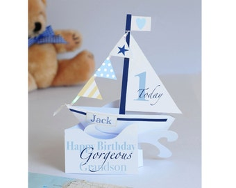 Personalised pop-up Sailing Boat card for a Boy's/Grandson/Son/Godson/Nephew's 1st Birthday.