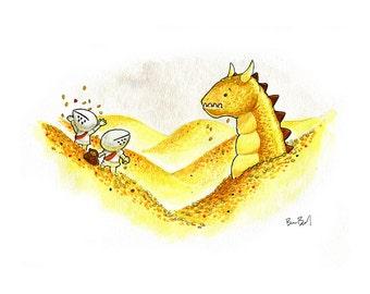 The Gold Dragon Watercolor Print