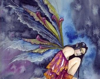 Original Watercolour Painting/Stormwatcher/Fairy Art/Original Mounted Painting/Fairy art/Faerie Art/Storm/sky/sitting fairy/Original Art