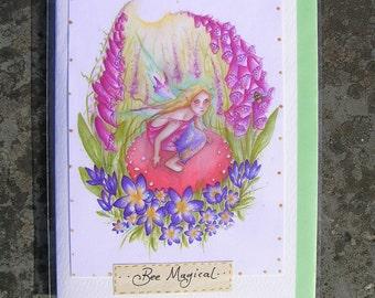 Bee Magical! handmade Card/Fairy Art Card/Handmade glitter fairy card/Faerie Art/Bumblebee/Toadstool/Foxglove/Fairy/Flowers/Crocus