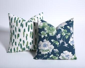 Blue and Green Floral Pillow cover / Lumbar pillow cover / green pillow / Geranium decor / navy and green pillow / 18x18-4E9H