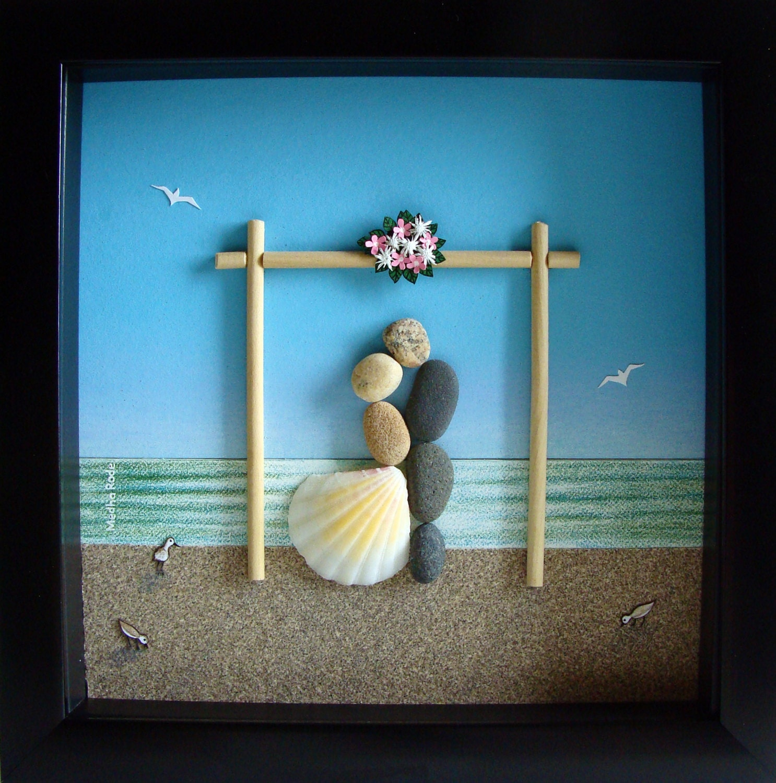 Personalized Wedding Gift Painting : Pebble Art Wedding Gift Unique Engagement Gift Unique