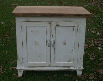 Antique White Rustic Cabinet, TV Cabinet, Console, End Table, Nightstand, Storage, Liquor Cabinet, Reclaimed Plank Top