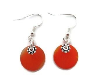 Orange Dangle Earring, Bright Orange Earring, Orange Beach Glass Earring, Orange Sea Glass Earring, Tangerine Earring, Recycled Glass