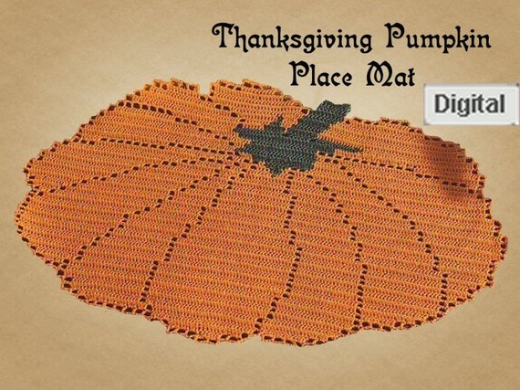 Crochet Thanksgiving zucca Placemat Centrino Filet di postalsusie