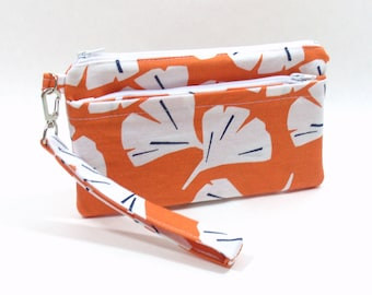 Cell Phone Wristlet, Wristlet Wallet, iPhone Wallet, Orange Island Clutch, Clutch for Phone, Vacation Clutch, Bridesmaid Clutch