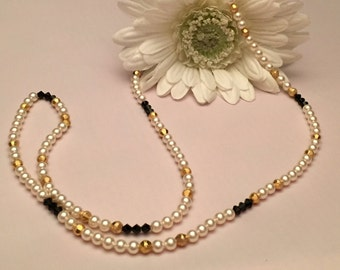 Pearl, Gold Beads and Black Bicone Long Necklace