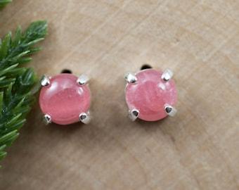 Rhodochrosite Sterling Silver Earrings