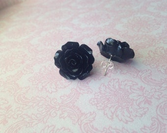 Handmade Large Black Rose Earrings, Stud Post Rose Earrings // Bridesmaids Earrings