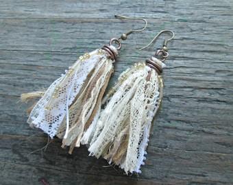 Bohemian Wedding Jewelry, Boho Wedding, Bohemian Bridal Earrings, Boho Shabby Chic Jewelry, White and Beige Tassel Earrings, Fiber Earrings