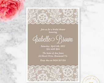 Bridal Shower Invitation / Wedding Shower Invite / Lingerie Shower Invitation / Classic Lace