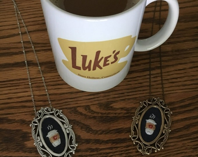Coffee To Go : hand embroidered necklace, coffee lover, starbucks