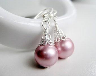 Rose pink drop earrings, crystal pearl, pink Swarovski pearl earings bridesmaid jewerly, powder pink