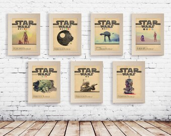 STAR WARS Set of 7 Episode 1 2 3 4 5 6 7 Movie Posters * Minimal Movie Posters Wall Art Print * Gift For Him , Gift For Her