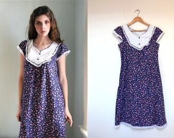 Liberty Bohemian Floral Cotton Dress, Prairie Gunne Sax Floral Dress, Hippie Summer Dress M