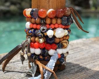 Auburn Stack Bracelet,Orange Blue Bracelet,Gemstone Bracelet,Sterling,Gold,Pearl,Lapis,Jasper,Agate, Coral,Sandalwood,Toomers,Oak Trees