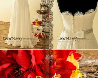 Boho Wedding Dress from Silk Chiffon and Alencon Lace, Chiffon Boho Wedding Dress, Bohemian Chiffon Wedding Dress, Boho Wedding Dresses