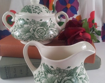 English Ironstone Cream and Covered Sugar Sage Green Roses KEW EIT