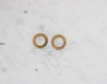 Infinity Brass Circle Studs