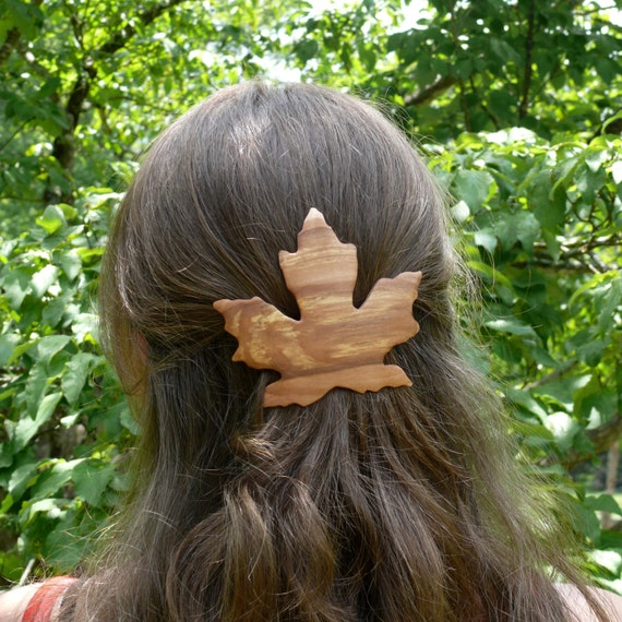 Maple leaf hair clip, Leaf barrette hair pin, Maple leaf jewelry, 80mm French Hair Clasp, Maple leaf Hair Accessory, Unique gift for her