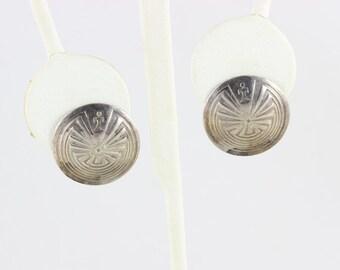 Sterling Silver Post Stud Earrings Mayan Aztec Design