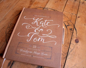 Kraft Wedding Guest Book - Rustic Wedding Guestbook - Custom Guest Book - Personalized Guestbook - Blank - Rustic Keepsake • 8 x 10