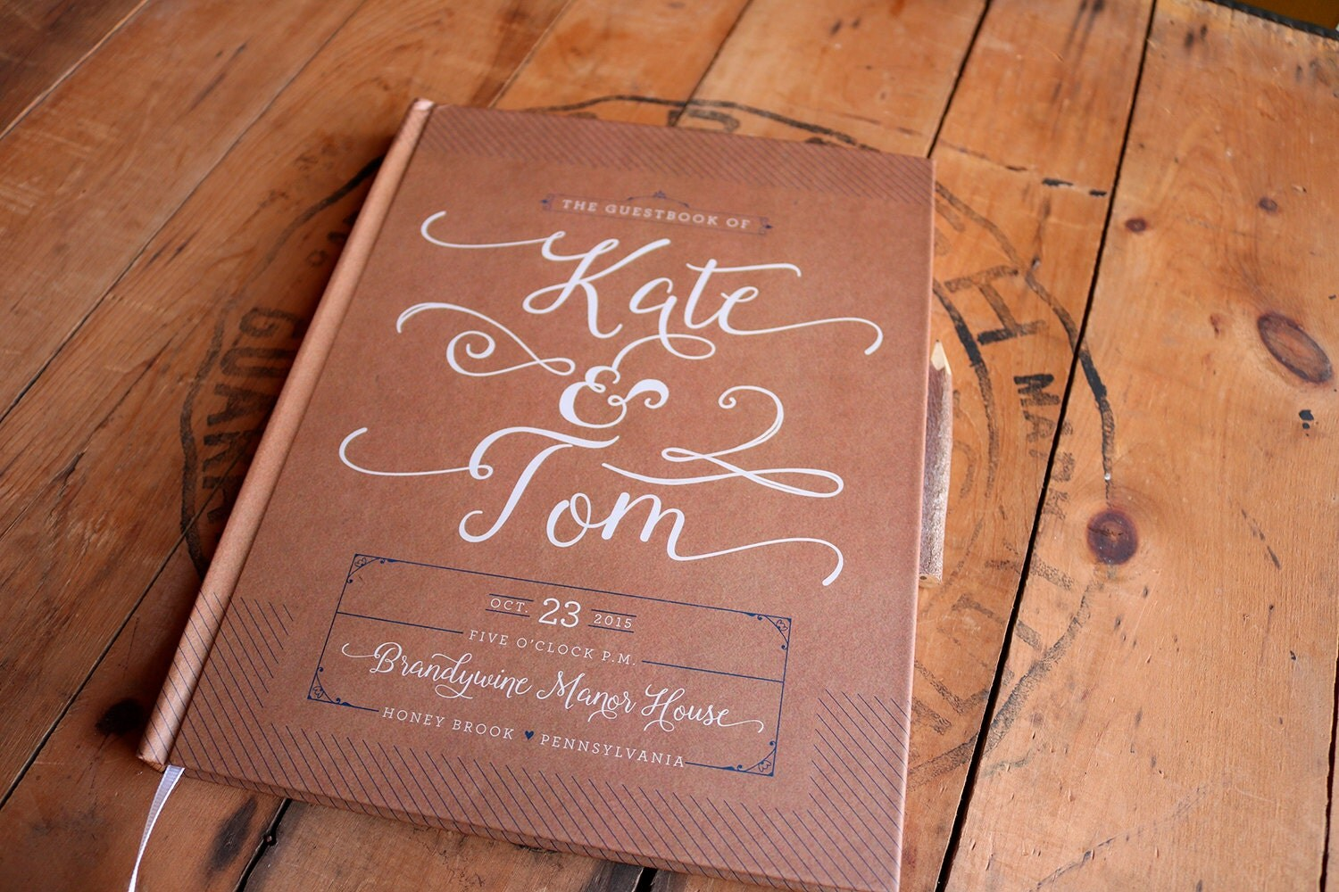 Kraft Wedding Guest Book Rustic Guestbook Custom