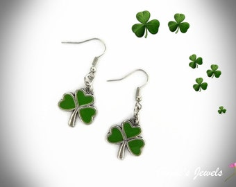St Patricks Day, Shamrock Earrings, Green Shamrock, Lucky Shamrock, Irish Shamrock