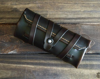 Leather Brush Roll Personalized Brush Case Leather Artist