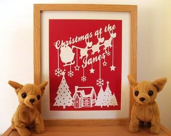 Christmas Decoration, Personalized Paper Cut, Personalized Christmas Gifts, Paper Cut Art - Unframed - Choose Your Colors