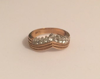 x Vintage 14k Yellow Gold Filled Crown Crystal Ring (#0)