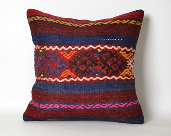 turkish rug pillow, kilim pillow cases, cushion covers, boho cushion cover, square, living room, ethnic pillow, 16x16 kilim pillow, antique