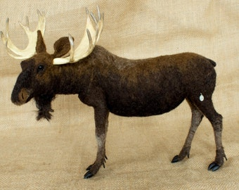 Made to Order Needle Felted Moose: Custom needle felted animal sculpture