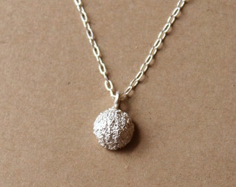 Fine Silver Ball Necklace - Handcrafted Silver Jewelry - Silver Necklace