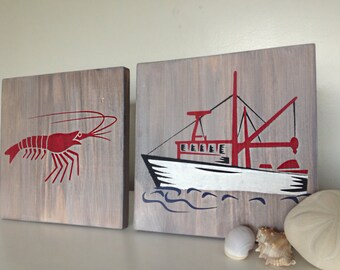 Shrimp and Shrimp Boat Wood Signs- Nautical Decor- Shrimp Wood Decor- Nautical Wood Decor