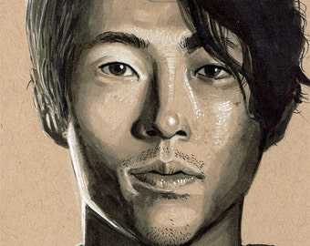 "The Walking Dead ""Glenn Rhee"" Original Art Hand Drawn Toned Paper Portrait"