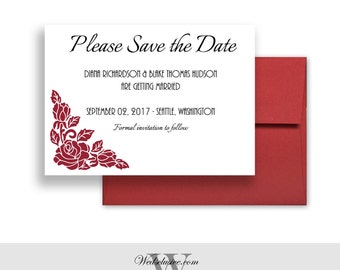 Save the Dates, Red Roses, Elegant Wedding Announcement, Classy, Modern, Chic  - PRINTABLE - Download