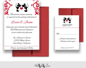 Mickey and Minnie Wedding Invitations, Disney Weddings, Fairytale Wedding Cards - DEPOSIT