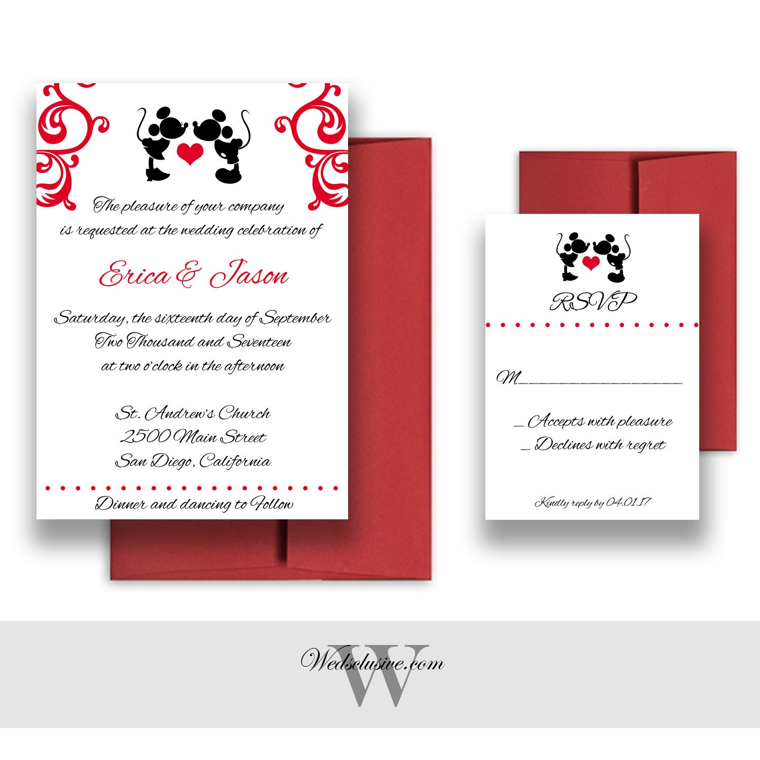 Mickey And Minnie Wedding Invitations Disney Weddings