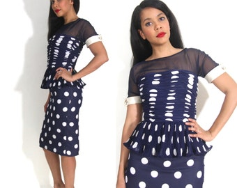 Vintage 80s Victor Costa Navy White Polka Dot Peplum Cocktail Party Dress Glam