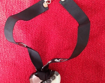Reversible Ribbon and Glass Heart Necklace
