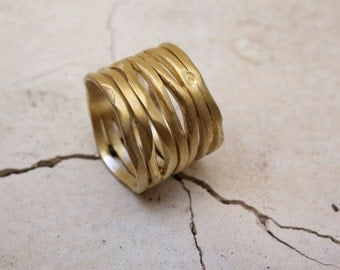 WEDDING RING Unique Fine Jewelry Handmade Gold ring Gold wedding band Engagement gold ring Women's Gold ring Alternative Wedding band