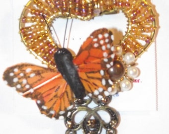 Bug / Butterfly Theme.  1-of-a-Kind collage brooch &/or pendant made from recycled vintage jewelry. Monarch heart pearl dangles orange #23h.