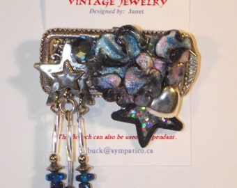 Celestial Theme. Stars, heart, blue, silver. One-of-a-Kind collage brooch &/or pendant, made from recycled vintage jewelry. #25h.