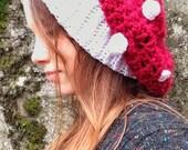 Mushroom Hat, Crochet Hat, Amanita Mushroom Hat, Festival Wear, Hippie Hat, Boho, Reiki Charged, Crochet Accessory, Crochet Slouchy Hat