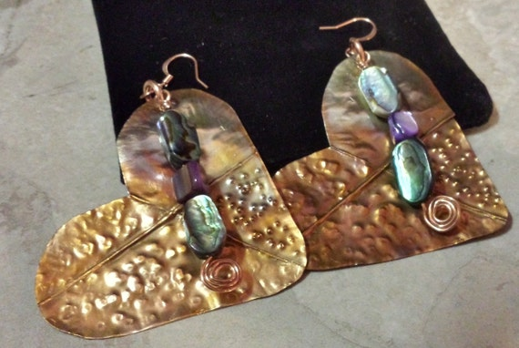 Form Folded Copper Heart Earrings with Mother of Pearl Dangle