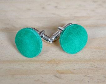Cuff links green, Irish wedding, anniversary gift husband, Fathers day gift, Suede cufflinks, Leather anniversary men, Unisex jewellery