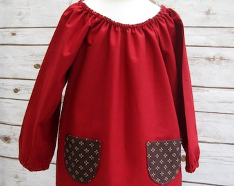 Girls Red Smock Top with Funky Pockets Age 4