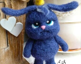 Rabbit blue felt, felted, art, doudou, kawai, gift, gift, fibert art collection,