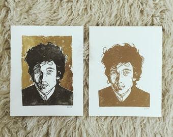 Bob Dylan Portrait '60s - Original Relief Print - Gold ink on A4